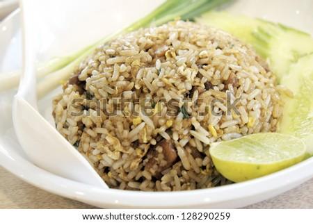 Fried rice with sweet pork. - stock photo