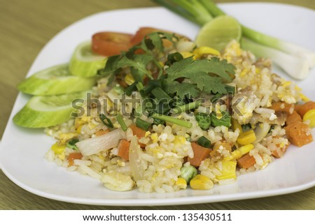 Fried Rice with Vegetables and Meat close up