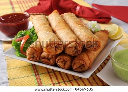 Fried Rolls - stock photo