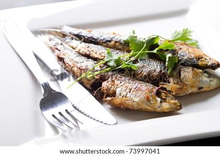 fried sardine on plate - stock photo