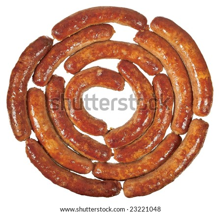 Fried sausage rolled link isolated on white background - stock photo
