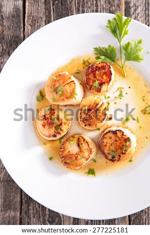 fried scallop - stock photo