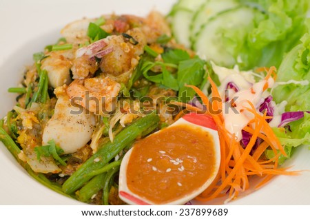 Fried Seafood Sukiyaki - stock photo