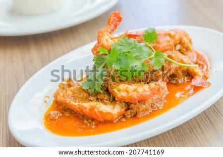Fried shrimp garlic - stock photo
