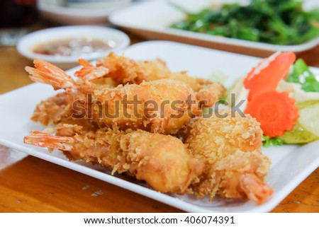 fried shrimp on plate for served in a restaurant - stock photo
