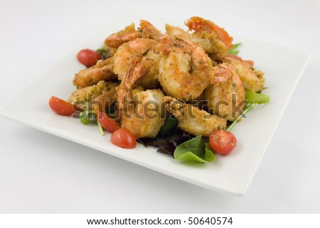 Fried Shrimp platter - stock photo