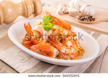 Fried Shrimp with garlic pepper - stock photo