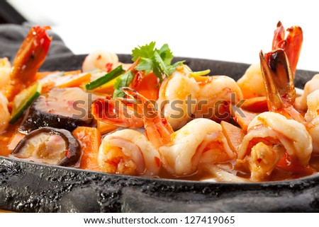 Fried Shrimp with Vegetables - stock photo