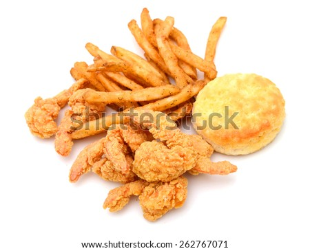 fried shrimps with biscuit, French fries isolated on white  - stock photo