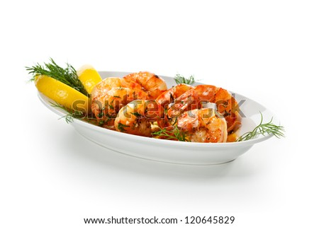 Fried Shrimps with Lemon and Sauce - stock photo