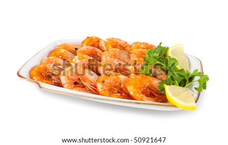 Fried Shrimps with parsley. Isolated  on white background - stock photo