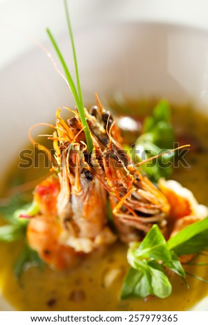 Fried Shrimps with Wine Sauce - stock photo
