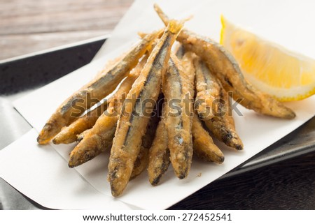 fried Silver-stripe round herring - stock photo