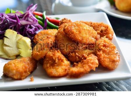 fried sour pork . thailand food - stock photo