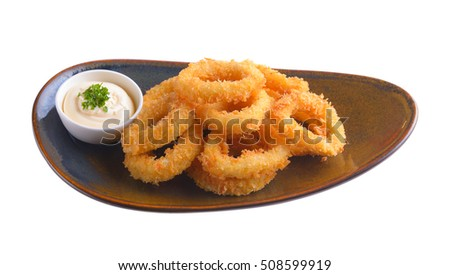 fried squid in ceramic plate isolated on white background