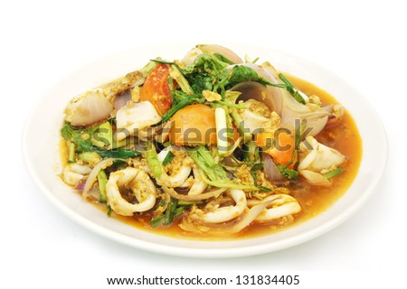 Fried  squid in yellow Curry Powder - stock photo