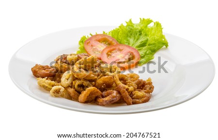 Fried squid rings with tomato and salad leaves - stock photo