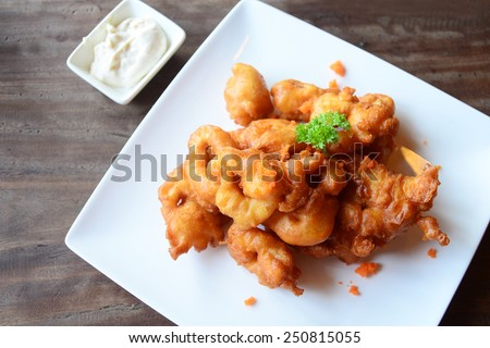 Fried squids - stock photo