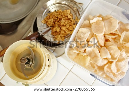 Fried srimp cracker and shallot for cooking ingredient - stock photo