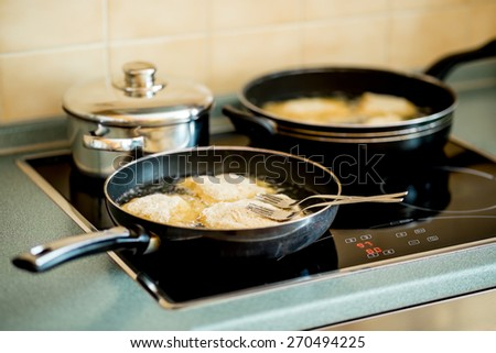 fried steak, traditional Czech dish on the hot plate - stock photo