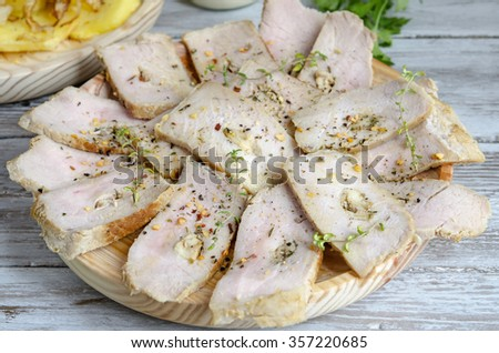 Fried steak with olive oil and spices - stock photo