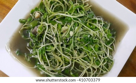 Fried Sunflower sprout with oyster sauce in white plate - stock photo
