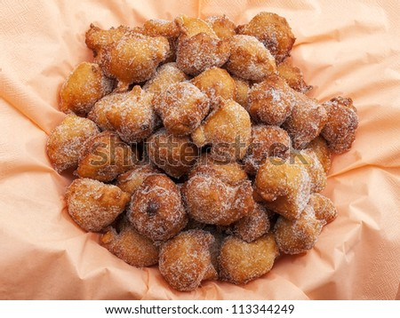 Fried sweet pastry or fritters known as Fritule, is a typical dessert on the Adriatic coast. - stock photo