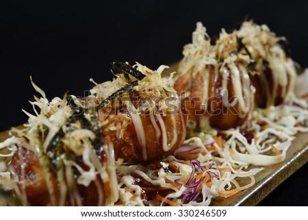 Fried Takoyaki balls dumpling - japanese food - stock photo