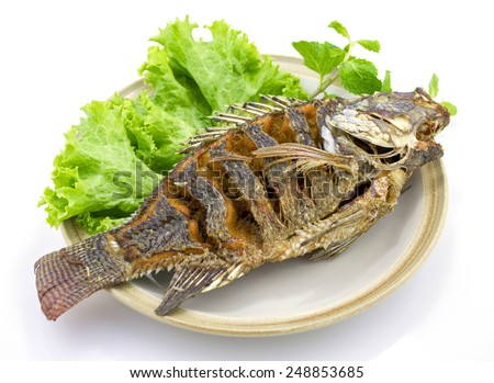 Fried Tilapia fish - stock photo