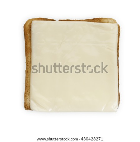 Fried toast bread with a slice of cheese, isolated on a white background. Close-up, top view. - stock photo