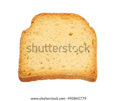 fried toast isolated on white background, sweet rusks bread clipping path