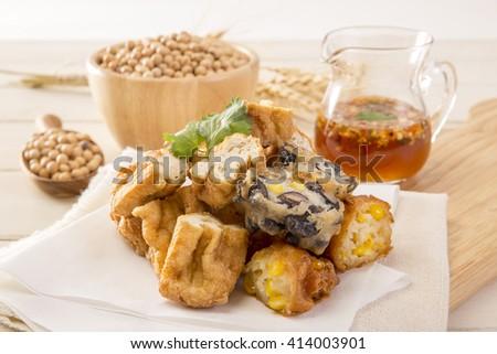 Fried Tofu - stock photo
