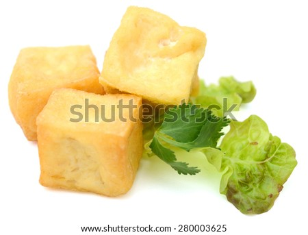 fried tofu and salad isolated on white  - stock photo