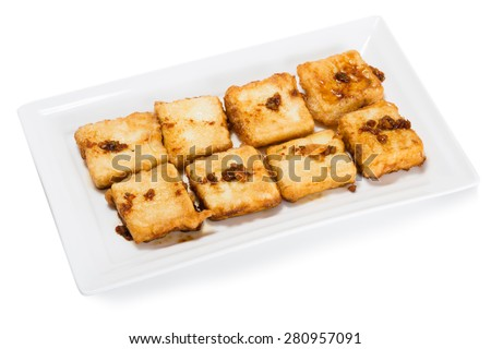 "Fried tofu ""bean curd"" - the food product from soybean protein rich. From a series of Food Korean cuisine. - stock photo"
