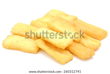 fried tofu isolated on white  - stock photo
