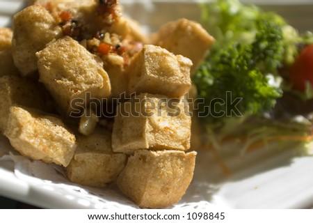 fried tofu with garnish - stock photo