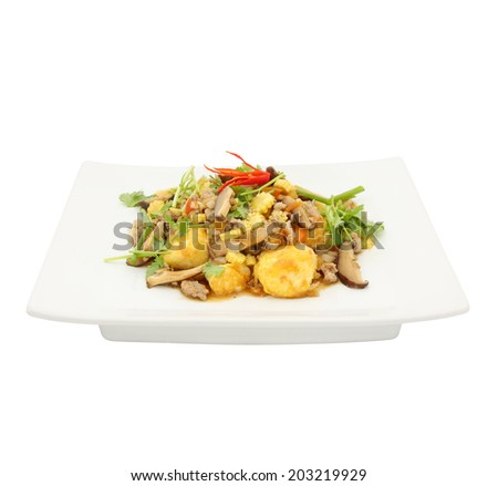 Fried tofu with minced pork and vegetables isolated on white background - stock photo