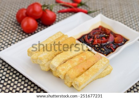 Fried Tofu with Sweet Soy Sauce - stock photo