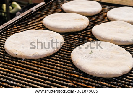 Fried tortilla with meat. Cooking processes