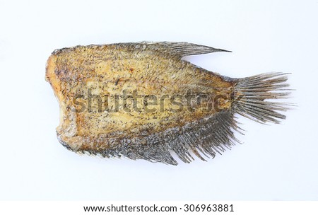 Fried Trichogaster pectoralis, fried salid fish thai food, isolated - stock photo