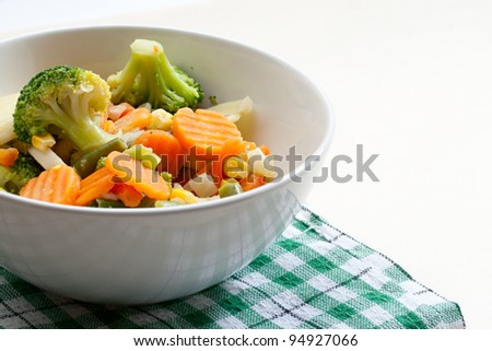 Fried vegetables on the plate - stock photo