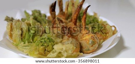 Fried vegetables tempura - stock photo