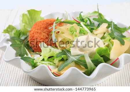 Fried vegetarian patty with fresh vegetable salad - stock photo
