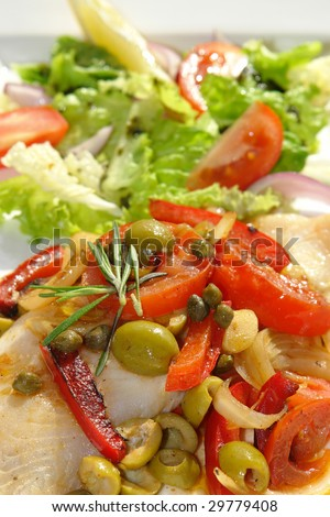 Fried white fish with vegetables