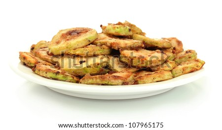 Fried zucchini in a white plate isolated on white - stock photo