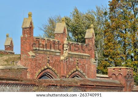 Friedland gate - fortifications of Koenigsberg, neo-gothic 19th century. Kaliningrad (Koenigsberg before 1946), Russia - stock photo