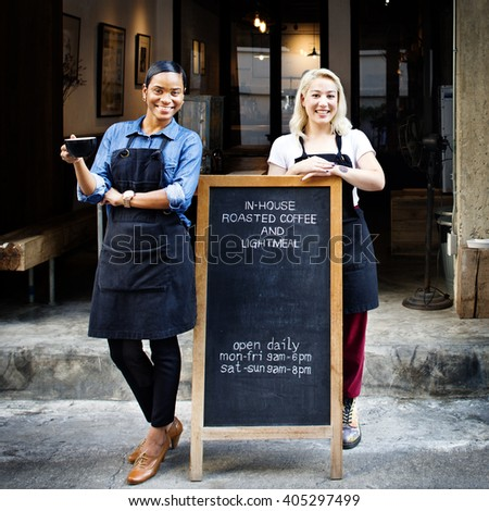 Friend Coffee Shop Cafe Staff Concept - stock photo