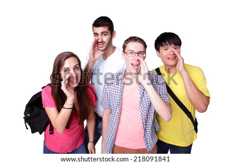 Friend group of happy excited students talk to you isolated over a white background,  caucasian and asian