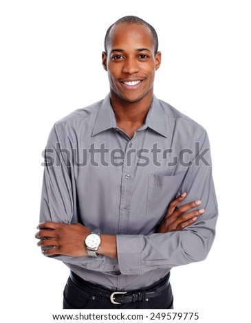Friendly African-American businessman isolated white background - stock photo