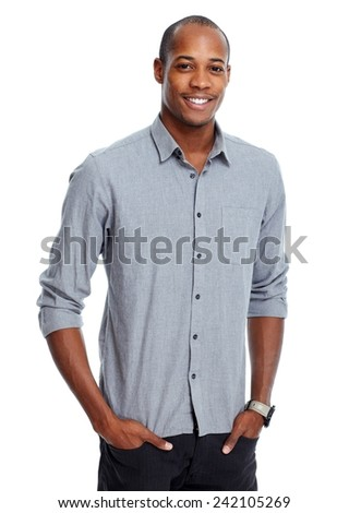 Friendly African-American casual man isolated white background - stock photo